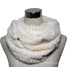 Lady Fashion Polyester Velvet Lace Knitted Infinity Scarf (YKY4370)