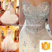 Teueres Brautkleid 2017 Spitze-Hochzeits-Kleid-langer Zug, das Perlen-starkes Perlen-Brautkleid glänzt
