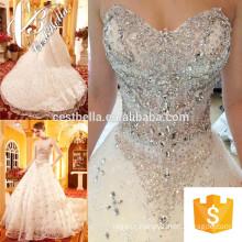Vestido de noiva caro 2017 Vestido de noiva de renda Vestido de noiva de trem longo Pérolas pesadas Vestido de noiva
