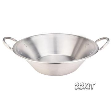 21Quart Heavy Duty acero inoxidable grande Cazo Comal