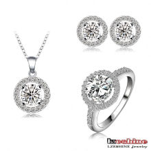 Collier plaqué rhodium Boucles d'oreilles Ensembles de bijoux en anneau (CST0021-B)