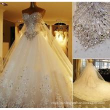 2017 Rhinestone Rhinestone Beaded Vestidos de casamento nupcial Vestidos