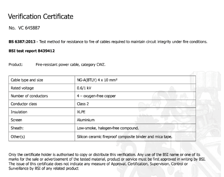 BSI Certificate for Fire Resistant and BS6387-2013 (1)