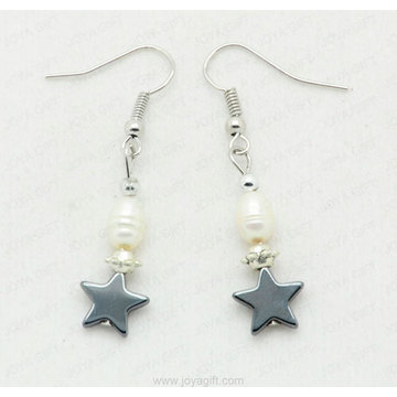 hematite star beads earring