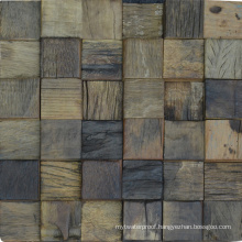 Thailand Style Commercial Hotel Natural Wood Mosaic Tile Wall
