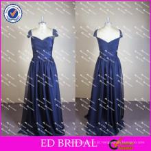 ED Sexy A-Line Cap Sleeve Sweetheart Neckline Deep Blue Zipper Chiffon Long Evening Dress 2017