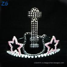 Мода цветные Rhinestone детей металлические тиары, малые гитары тиары для детей, рок-звезда тиара короны