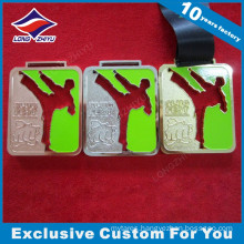 Silk Ribbon High End Enamel Cut-out Design Taekwondo Medals