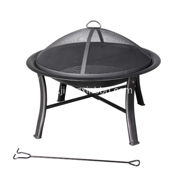 Deco 30 in W Black Steel Wood-burning Grit Pit