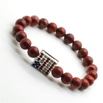 Red Jasper 8MM Round Beads Stretch Gemstone Bracelet with Diamante USA Flag Piece