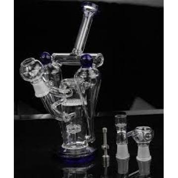 Tubes à eau en verre épais Noir Style huiles en acier blanc Style