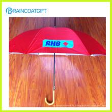 Parapluie de poignée en bois de promotion de publicité adaptée aux besoins du client