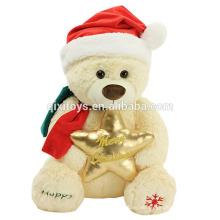 2017 venta caliente de navidad juguetes de peluche de peluche de felpa decoración de navidad caramelo oso de peluche de juguete