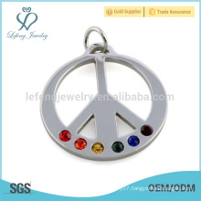 Free sample peace symbol pendant,stainless steel silver pendant,colorful crystal pendant