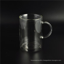 2016 New Design Double Wall Glass Cup with Handle