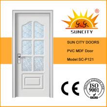 Интерьер Белая деревянная стеклянная дверь, Главная дверь конструкции (СК-P121)