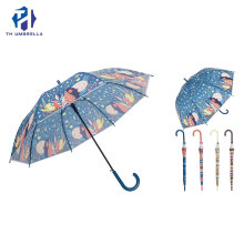Auto Open Long Stick Poe Umbrella with Crook Handle/Fashion Gift Rain Umbrella with Printing for Lady