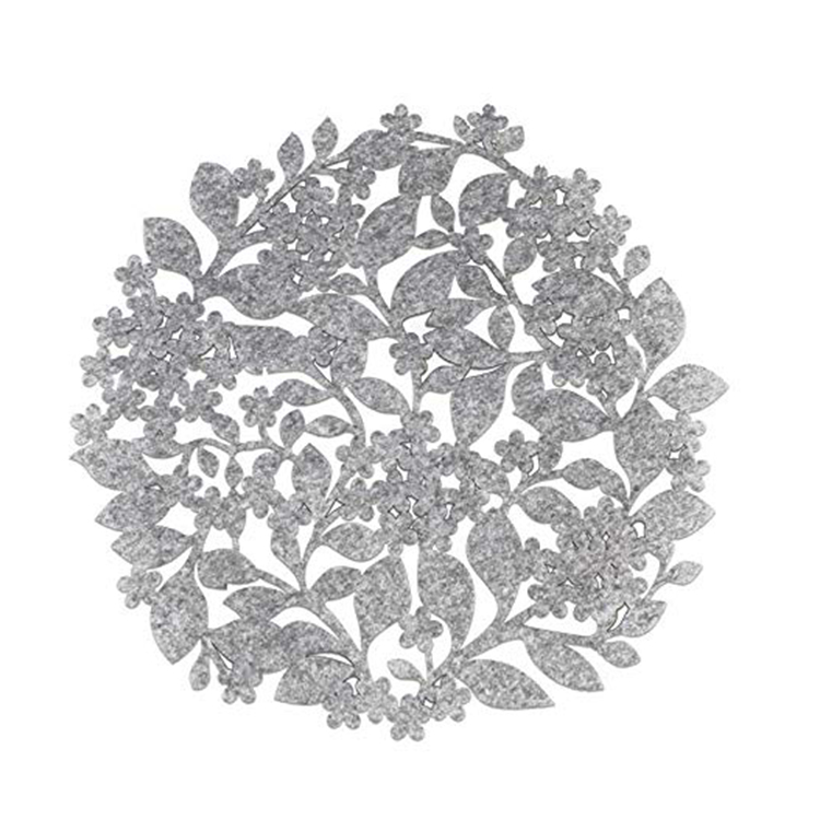 Gray Round Leaf Drink Coaster