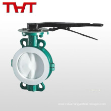 2 pc teflon lined wafer lined anti-corrosion butterfly valve