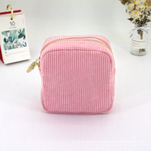 Oem Makeup Bag Women Soft Touch Corduroy Cosmetic Bag Women Mini Small Pink Pouch Bag