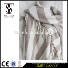 heavyweight scarves simple dual stripe beach towel winter poncho finished with tasselled trims                                                                         Quality Choice
