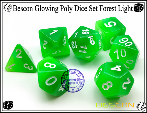 Bescon Glowing Poly Dice Set Forest Light-6