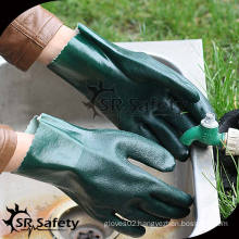 SRSAFETY Green indudstry PVC coated gloves/working gloves/cheapest gloves