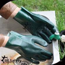 SRSAFETY Зеленые защитные перчатки с ПВХ покрытием / рабочие перчатки / самые дешевые перчатки