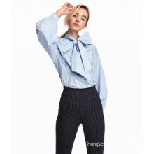 Full Cotton Blouse with Wide Tie