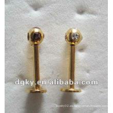 Pendientes de perforación piercing labio de oro labret piercing