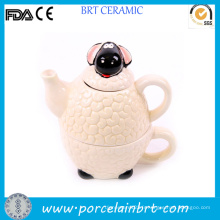 Adorable théière animale en céramique blanche de mouton mignon