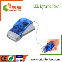 Factory Wholesale EDC Logo Printed ABS Matériel Cheap Best Hand Press Crank 3 led Dynamo Flashlight