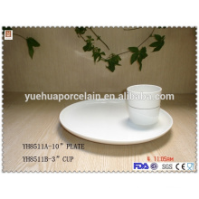 Hot sale fast food restaurant ceramic cup with plate
