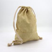 Custom Printed Natural Jute Drawstring Burlap Bags Custom Logo Small Hemp Gift Pouches