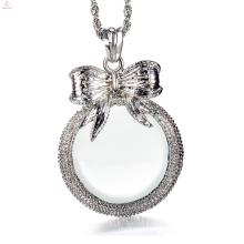 Women Long Chain 2.5x Magnifying Glass Pendant Bowknot Design Magnifier Necklace