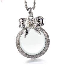 Женщины с длинной цепью 2.5 x увеличительное стекло дизайн bowknot Кулон ожерелье лупа