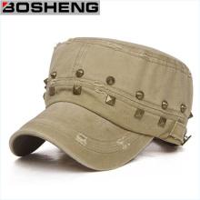 Gorra de Cadet unisex hecha a mano de moda del remache militar del remache de Flexfit del ejército