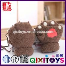 Plush Animal warm winter cotton scarf gloves hat cotton set