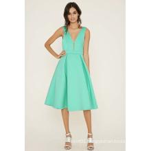 OEM Pleated Scuba Knit Evening Dress