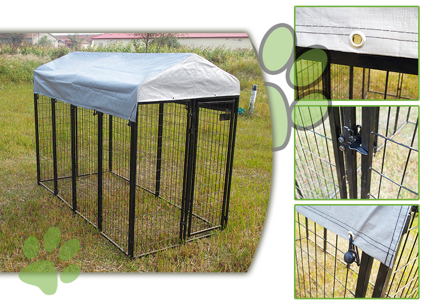 large metal dog kennel pen