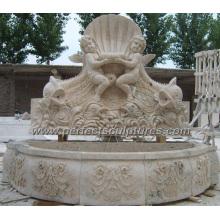 Fonte de parede de jardim com mármore de pedra de acabamento antigo (SY-W154)