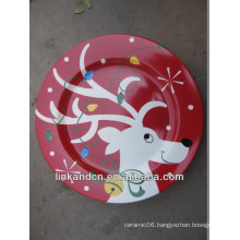 KC-02545hand printed christmas plates,for kids funny round flat pizza/cake plates