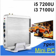 La última generación de Fanless Mini PC Core I5 ​​7200u I3 7100u Intel HD Graphics620 14 Nm Wind10 Barebone 4k HTPC Mini Desktop