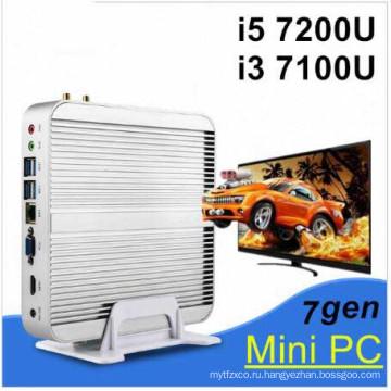 Новейшее 7-е поколение Безвентиляторный мини-ПК ядро i5 7200u И3 7100u Интел HD качестве Graphics620 14 нм Wind10 Баребон 4к HTPC Миниого настольного компьютера