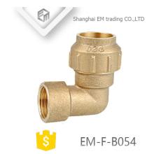 EM-F-B054 Latão Espanha 90 graus fêmea rosca de compressão cotovelo encaixe de tubulação