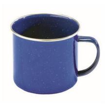 Blauer Emaille-Kochgeschirr-Kessel, Küchengeräte, kampierende Email-Becher