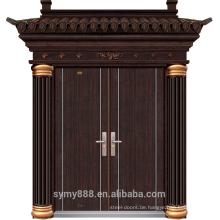 Stahl Villa Luxus Eingang Doppel Tür Korn Haut verzinktem Blech schwarz Kupfer Malerei