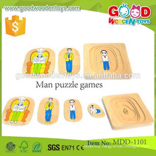 continued selling wooden kids puzzle toy OEM high quality educational Grandma & Grandpa 5 Layer Puzzle MDD-1101