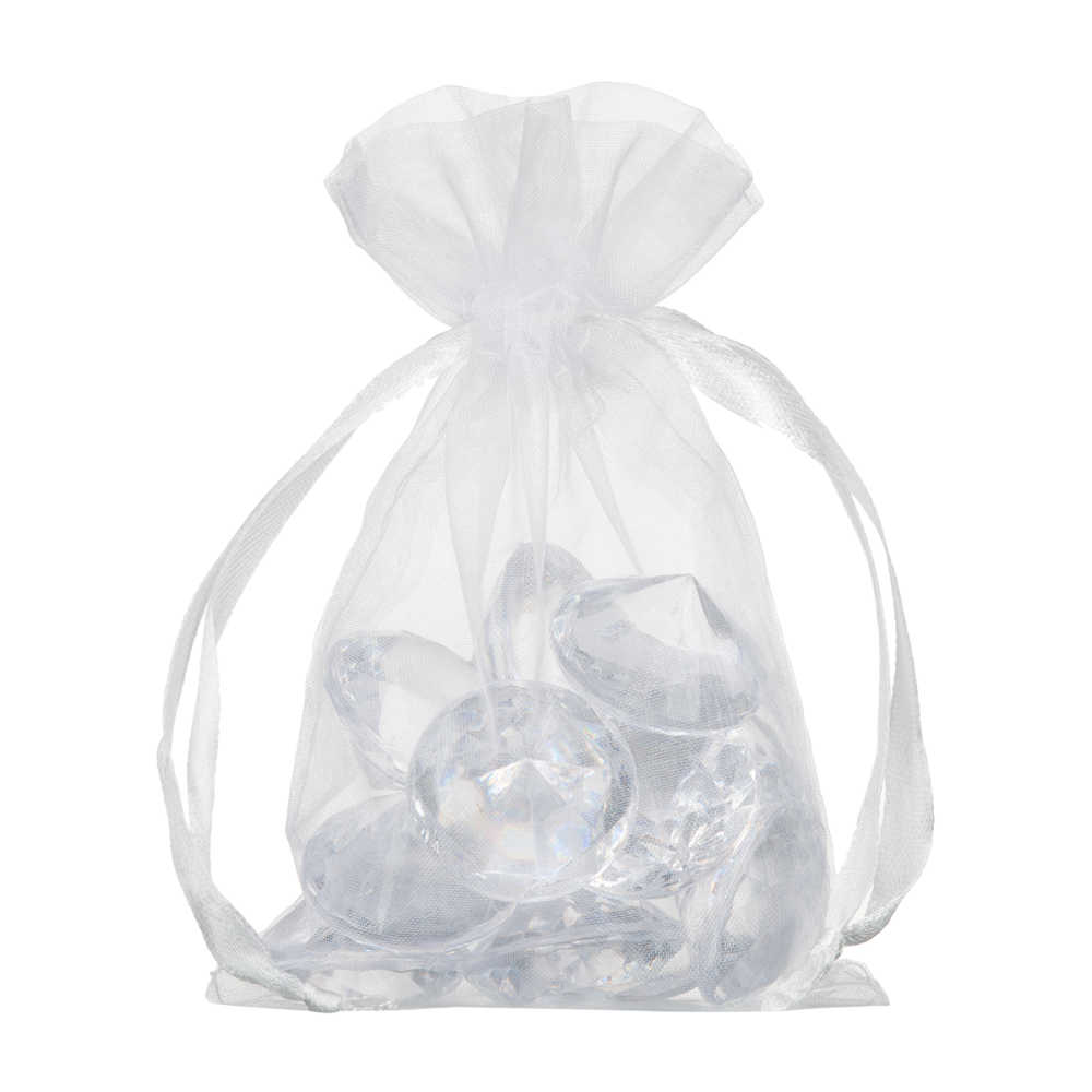 pretty quatity white drawstring organza pouch