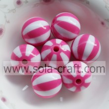 Neueste! 20MM 500pcs/Menge Light Rose Striped Harz Acryl Solid Perlen, Chunky Perlen für Halskette